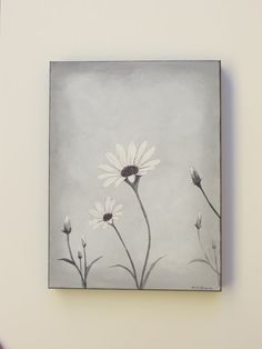 Canvas painting acrylic painting grey daisy by Waterblooms on Etsy