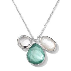 Sterling Silver Wonderland 3 Stone Charm Necklace 16-18