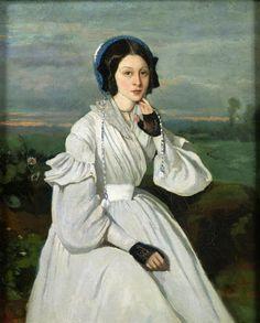 historia del traje: 28. Romanticismo (III): el vestido lánguido 1836-1842 Claire Sennegon retratada por Corot  (París, Louvre) en radiante y nívea languidez.