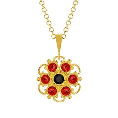 Lucia Costin Silver Red Black Crystal Pendant Women's