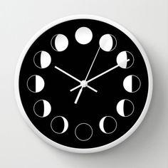 MOON PHASES Wall Clock, Black and White wall clock, Geometric Pattern Modern Wall Art, Designer Wall Clock, Decorative wall clock by ThingsThatSing on Etsy