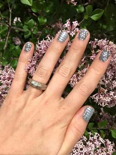 Jamberry Metallic Berry with Gray and Silver Pinstripe accent nails. http://nailsinharmony.jamberry.com