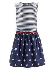 Pure Cotton Striped & Star Print Dress with Belt