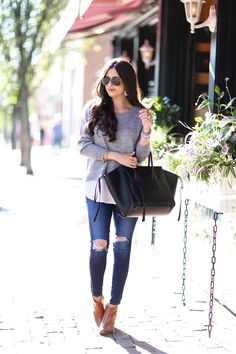AG jeans, ASTR sweater, Celine bag