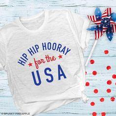 Items similar to Hip Hip Hooray For The USA Shirt, Fourth of July Shirt Women, Patriotic Tee Shirts on Etsy Patriotic Tee Shirts, Fourth Of July Shirts, Cool Graphic Tees, Graphic Tee Shirts, Usa Shirt, Custom T Shirt Printing, Tie Dye Shirts, Hip Hip, Fitness Gifts