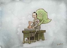 Venkman and Slimer sitting in a tree! Pottery Series #2 by scottlava, via Flickr