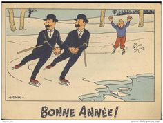 """YO! Look out, you guys!"" Bonne année - carte Tintin"