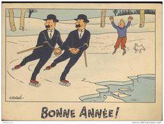 Bonne année - carte Tintin