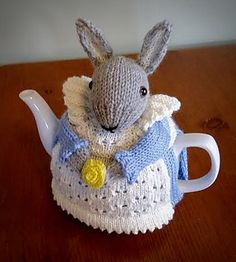 Mrs. Bunny Rabbit is ready to keep your teapot warm, whilst adding a whimsical decorating touch to your kitchen or dining room. Dress her in red for Christmas, or pastel for Easter or spring/summer. The tea cozy will fit a medium teapot and is somewhat flexible in fit. This pattern is based on my 2014 design, which was turned into a pattern by popular request.
