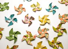 10 paper pinwheels - colorful - strawberry - green - embellishments - pink - orange - brown - card making - paper crafting - handmade by Wcards on Etsy