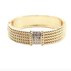 T&J Designs Texture Gold Bracelet Stunning textured gold  bracelet with glass crystal accents! 18k white gold plated base metals. Nickel & lead free. T&J Designs Jewelry Bracelets