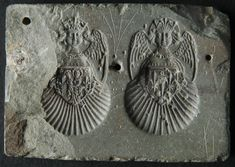 This mould was used for the making of two badges with the effigy of Saint Michael. The archangel's head is superimposed on a scallop shell of Saint James with a coat of arms. The first mould is decorated with a Virgin and Child, the second with three fleurs-de-lis.
