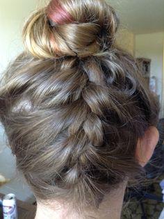 French braid into bun! It's so super easy!
