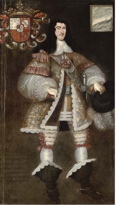 Spanish School, Century , Portrait of a gentleman, standing full-length, holding a hat in his right hand Baroque Art, Renaissance Clothing, Spanish Colonial, Edwardian Era, Old Master, Historical Costume, 17th Century, Egyptian, Oil On Canvas