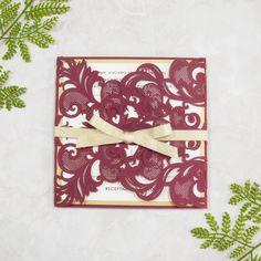 burgundy and gold glitter laser cut invitation cards for fall wedding SWWS018
