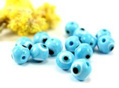 10mm Evil Eye Glass Bead 40pcs Turquoise Glass Evil Eye by Cchange