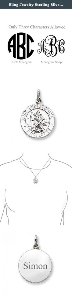 Bling Jewelry Sterling Silver Saint Christopher Medal Charm Pendant 18in Necklace Free Engraving. This Saint Christopher medal pendant is made out of sterling silver. Its design depicts the saint fording a river with the Baby Jesus on his back. This is a very popular gift for people who travel often and would like to have protective charms. Saint pendants, and especially St. Christopher jewelry, are always popular gifts for birthdays and holidays.