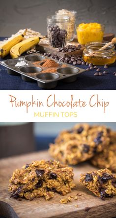 Pumpkin Chocolate Chip Muffin Tops  - Dense & hearty, these large muffin tops are the perfect on-the-go breakfast! Make and freeze, then microwave for a quick breakfast. No flour, only oats.