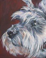 Schnauzer CANVAS PRINT painting dog LSHEP art 8x10