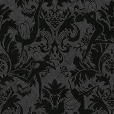 Graham and Brown Wallpaper Forest Muses Wallpaper in Black by Marcel... ($155) ❤ liked on Polyvore featuring home, home decor, wallpaper, black home decor, damask wallpaper, flocked damask wallpaper, graham brown wallpaper and black damask wallpaper