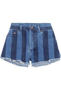 Saint Laurent - Cut-off Striped Stretch-denim Shorts - Mid denim - 27