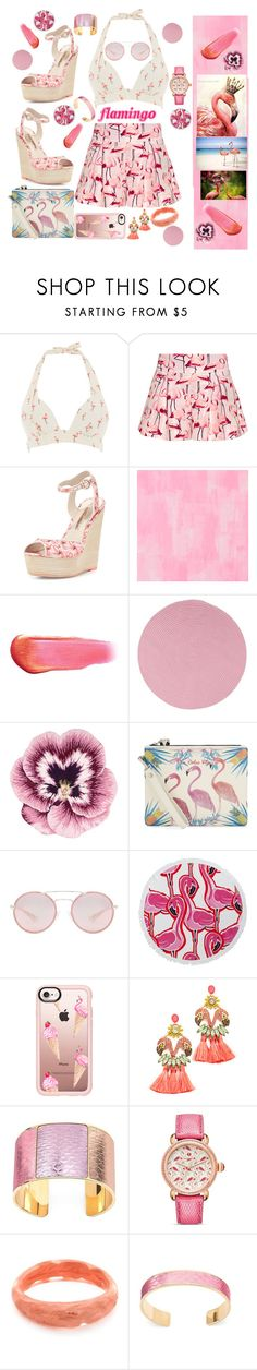 """""""Flamingo"""" by zanfira-panciu ❤ liked on Polyvore featuring RED Valentino, Sophia Webster, Designers Guild, e.l.f., Colonial Mills, Nourison, Emm Kuo, Prada, Crown & Ivy and Casetify"""
