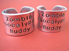 Zombie Apocalypse Buddy Ring Set - Personalized Hand Stamped Rings - Thick Band - Set of 2