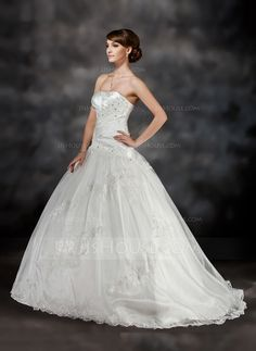 Ball-Gown Sweetheart Sweep Train Ruffle Beading Appliques Lace Lace Up Strapless Sleeveless Church General Plus No Fall Ivory Charmeuse Tulle Wedding Dress