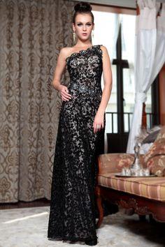 long maxi one shoulder black prom dress 1 Vestiti Da Ballo d094c35ae54