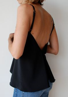Womens black flowing top with v front and low v by MuguetMilan