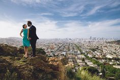 On top of the world--or at least San Francisco, with this romantic shot over the picturesque Bernal Heights park. T.J. Salsman Photography - Napa Valley Wedding, elopement, and portrait photographer