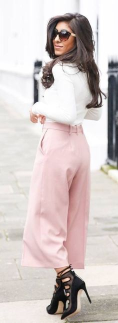 #spring #summer #street #style #outfitideas |White Knit + Pink Culottes                                                                             Source