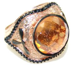 $88.50 Luxury 24ct.Gold Plated & 2ct. Black Diamond, 15ct. Golden Topaz Sterling Silver Ring s. 7 1/4 at www.SilverRushStyle.com #ring #handmade #jewelry #silver #topaz
