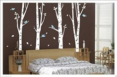 Amazon.com: Set of 8 Birch Tree Wall Decal for Nursery Big White Tree Wall Sticker Fliying birds Wall Art Decor: Home & Kitchen