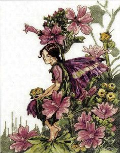 Cross stitch - fairies: Mallow fairy - Cicely Mary Barker (free pattern with chart)