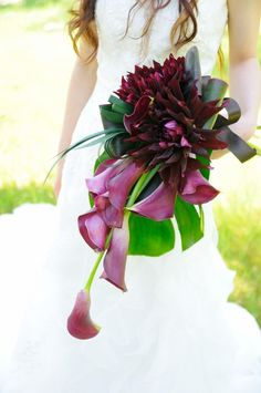 Dark colored dahlia and calla lily bouquet
