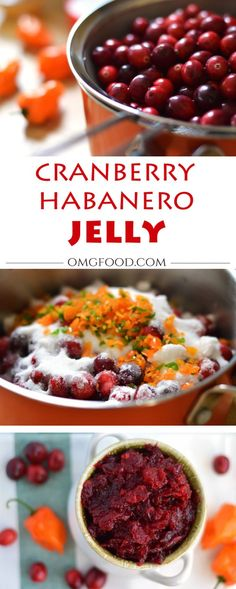 Cranberry Habanero Jelly - A spicy jelly that could be used on crackers, toast, or as a tasty food topping. Habanero Recipes, Jelly Recipes, Jam Recipes, Canning Recipes, Spicy Recipes, Brunch Recipes, Yummy Recipes, Habanero Jelly, Marmalade
