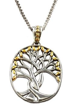 18k Gold & Silver Celtic Tree of Life Necklace Amazing necklace features interwoven branches with gold leaves. The Celtic Tree of Life represents how our past, present and future are all intertwined and connected to both the spiritual and the physical world. Epitomizing life itself, with roots drawing up nourishment from the earth, trunk soaring skyward and branches reach out towards the heavens Free shipping$320.00…