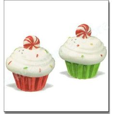Christmas Cupcake Salt and Pepper Shaker Set with Peppermint Candy on Top!