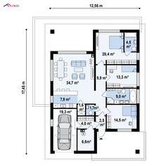 Z443 to wyjątkowy dom z kategorii projekty domów z dachem czterospadowym Beautiful House Plans, Beautiful Homes, Two Bedroom House, Architectural House Plans, New Homes, Floor Plans, Farmhouse, Exterior, House Design