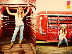Senior pictures with a stock trailer. I'd have my horse next to me by the side of the trailer tho