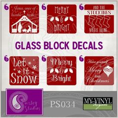 Christmas Vectors for Glass Blocks by PaisleyStudiosDesign Christmas Glass Blocks, Christmas Vinyl, Christmas Signs, Christmas Crafts, Christmas Decorations, Painted Glass Blocks, Decorative Glass Blocks, Lighted Glass Blocks, Vinyl Crafts