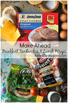 [Ad} These make ahead breakfast sandwiches and lunch wraps are easy to make when you  need something to gran and go in the morning.  Quick and satisfying!  #ReimagineYourRoutine