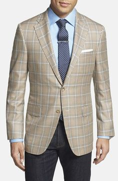 Hickey Freeman 'Beacon' Classic Fit Plaid Wool & Silk Sport Coat available at #Nordstrom