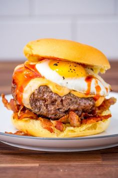 Cheesy Breakfast Burger - (REPLACE: Pork item with choice Kosher meat or Vegetarian items)