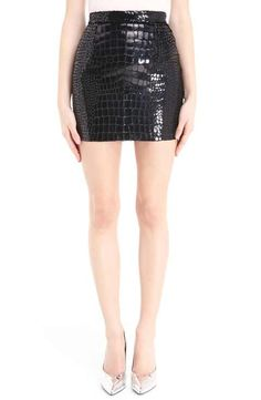 Saint Laurent Croc Embossed Miniskirt