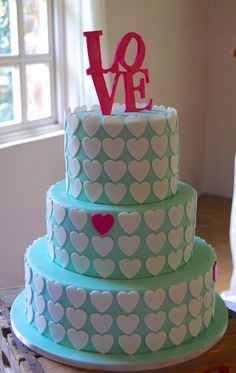 "Pop of Colour ""LOVE"" Wedding Cake Color Pop, Colour, Wedding Cakes, Desserts, Food, Color, Wedding Gown Cakes, Tailgate Desserts, Colour Pop"