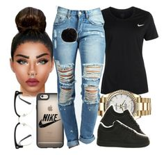 """""""Just do it"""" by foreverkaylah ❤ liked on Polyvore featuring NIKE, Rolex, Casetify, Boohoo, Nine West and GlassesUSA"""