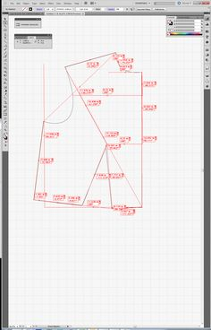 Pattern Drafting using Adobe Illustrator      Step 4 - curves drawn using Anchor Point Conversion tool and Direct Selection Tool