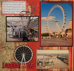 So here we are in London again. LOL After all of our trips to London we finally took a ride on the London Eye, since it's right there next to the hotel we always stay in it was perfect! I used an awesome paper of a map of London, Travel Scrapbook Pages, Vacation Scrapbook, Scrapbook Page Layouts, Scrapbook Cards, Rome Travel, London Travel, Travel Books, Travel Journals, Digital Scrapbooking